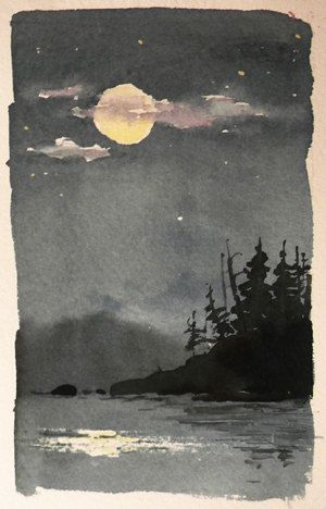 Original Watercolor Landscape  Moonlight by WilliamLSpencer.   ألوان مياة !!