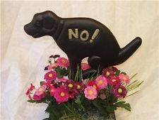 Lot of 2 Black Dog Garden Stake Keep Off The Grass No! Poop on Yard Sign Stakes