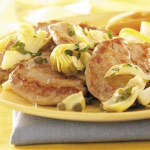 Pork with Artichokes and Capers Recipe from Taste of Home -- shared by Lindy Bonnell of Loveland, Colorado