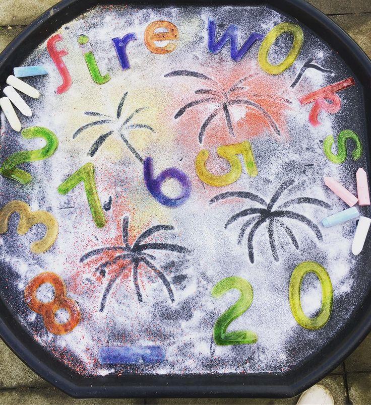 Firework tuff tray Bonfire night  Eyfs  Children's activities  Tuff tray activities  Salt , glitter , numbers , chalk  Mark making
