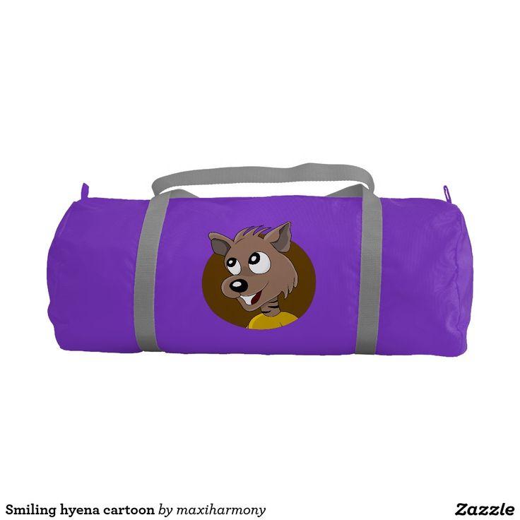 Smiling hyena cartoon gym duffel bag