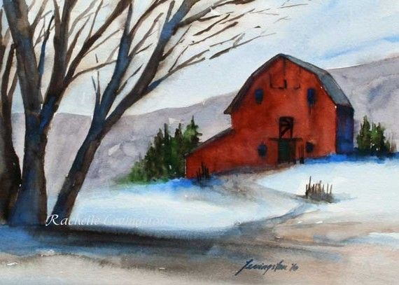 Winter Barn ORIGINAL Watercolor Painting by rachellelevingston, $95.00