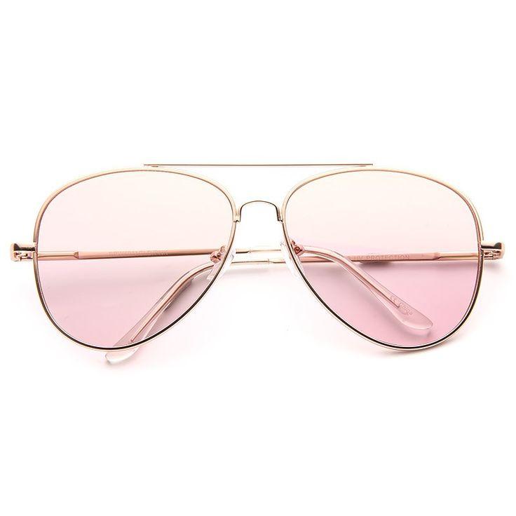 Cheap Aviator Sunglasses | Luxe Classic 60mm Color Tint Flat Lens Aviator Sunglasses | BleuDame.com