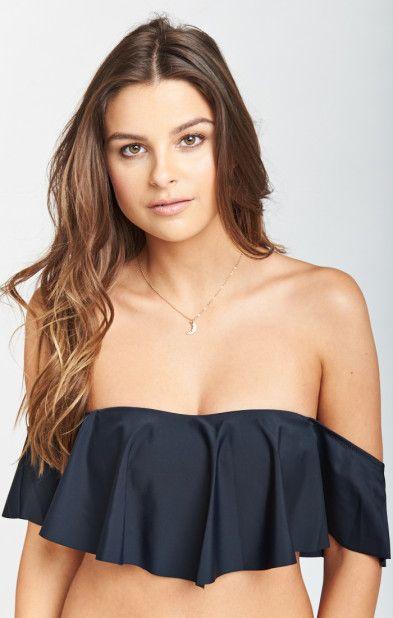 MUMU Bondi Ruffle Bikini Top ~ Black