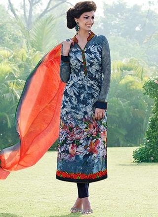 Blue And Orange Flower Print Festival Wear Churidar Suit http://www.angelnx.com/Salwar-Kameez
