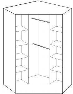 cabides em toda a parte do canto do armário para economizar espaço. gostei!
