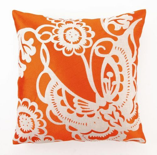 Butterfly Orange Embroidered Tropical Pillow buy at Blue Barnacles  www.bluebarnacles.com