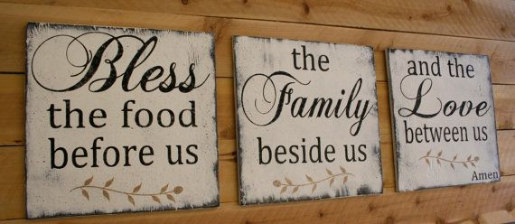 Bless The Food Before Us Wood Wallhanging Kitchen Sign Dining Room Sign Distressed Wood Sign Rustic Chic Farmhouse Chic Shabby Chic