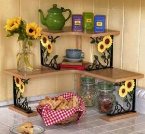 I love the shelves like this for more space in the kitchen! Perfect for that tight corner space.. but no flowers...