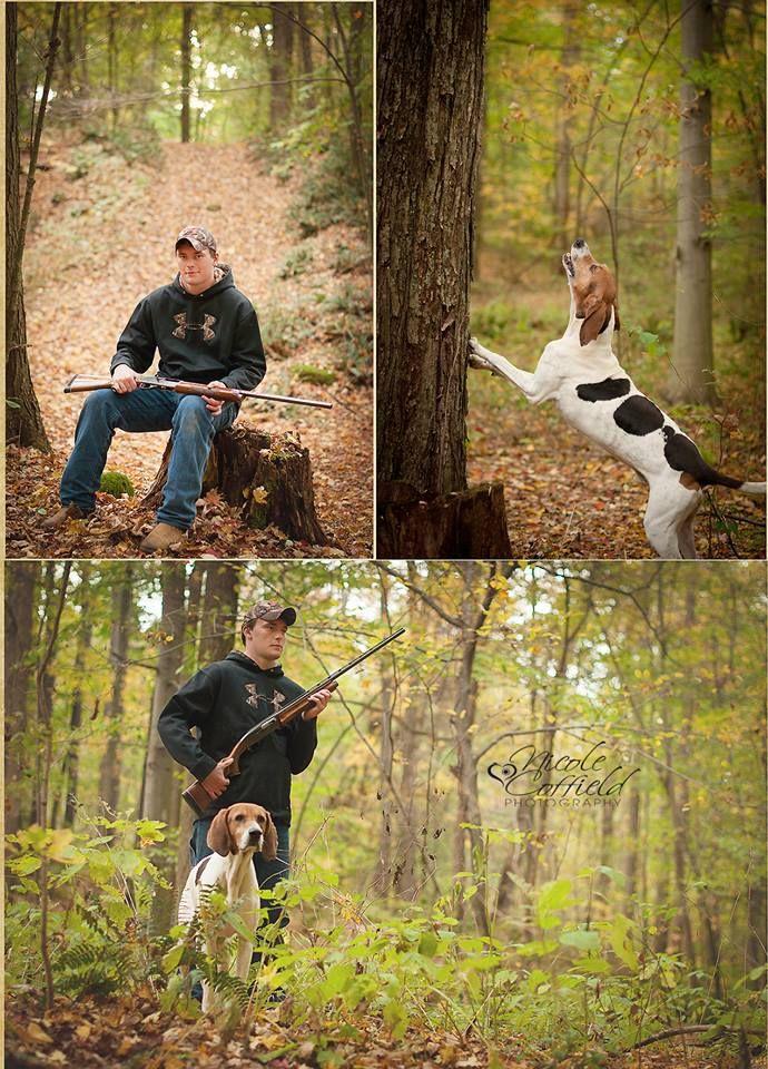 Country hunter senior boy session with dog - senior boy posing