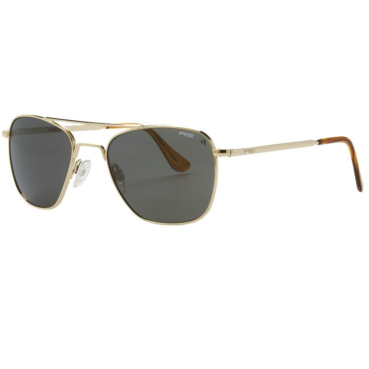 Randolph Aviator 52mm Sunglasses - Polarized, Glass Lenses, 23K Gold-Plated Frame in 23K Gold Plated/Grey Polarized/Skull Temple