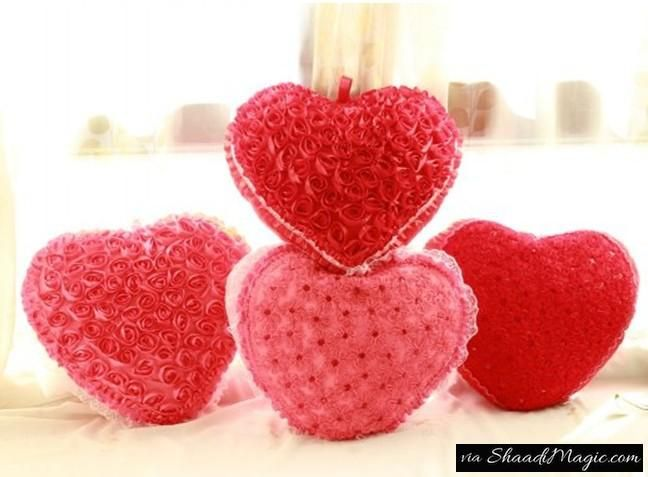 Heart Shape Cushions  To make your partner feel special on the first night, you can even hide a small gift between the cushions to give her a surprise start to the new life.