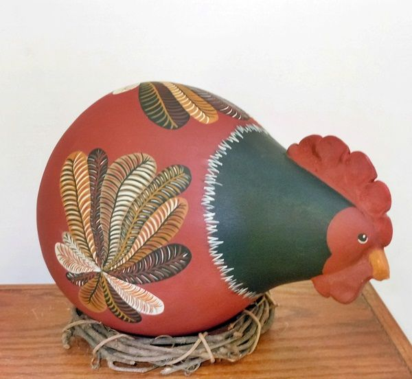 Gourd painted to look like a Chicken