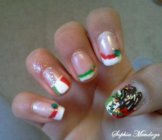 10 best mexico nails images on pinterest christmas nails coffin mexican flag nails prinsesfo Gallery