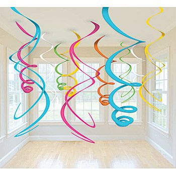 DIY Ceiling Swirls. You could buy party store decorations, but these will take just a few minutes and cost a lot less – get a few pieces of posterboard, cut spirals, and then hang them from the ceiling for a fun and festive look.