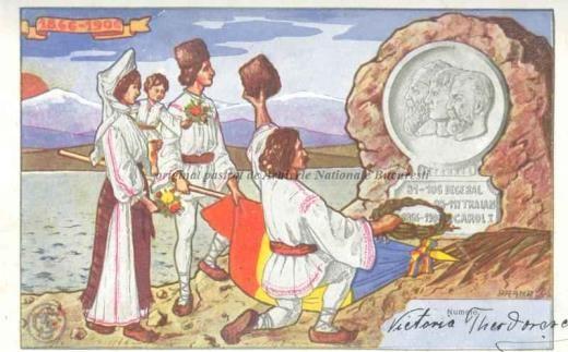 BU-F-01073-5-01143-1 Ilustrată omagială pentru regele Carol I. Tărani în faţa unui monument, -1906 (niv.Document)