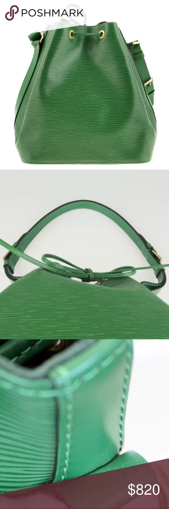 Louis Vuitton Noe Epi Leather Green Shoulder Bag One of the house's great designs, the Louis Vuitton Petit Noé is elegance itself. Its durable Epi leather means it is ideal for daily use, whilst still being effortlessly stylish and elegant. This Authentic gorgeous LV bag is a rarity. Clean inside and outside, maintains its shape and has been barely used, maybe twice. Please check photos.  Perfect for every day.  LV original Dust bag included. Adjustable Shoulder Strap Drop - Make me an offer…