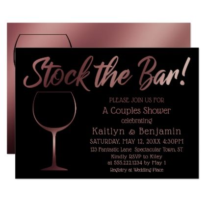 Rose Gold Wine Glass Stock the Bar Couples Shower Card - rose style gifts diy customize special roses flowers