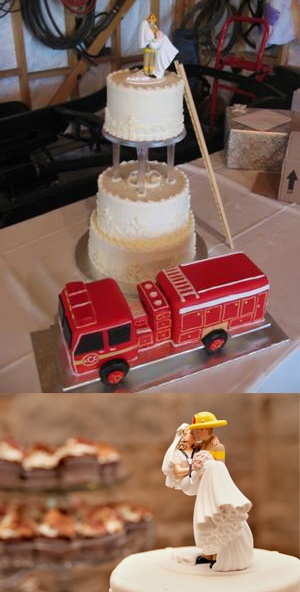 Firefighter Wedding Cake (with a separate fire engine cake, ladder and firefighter/bride topper) | Shared by LION