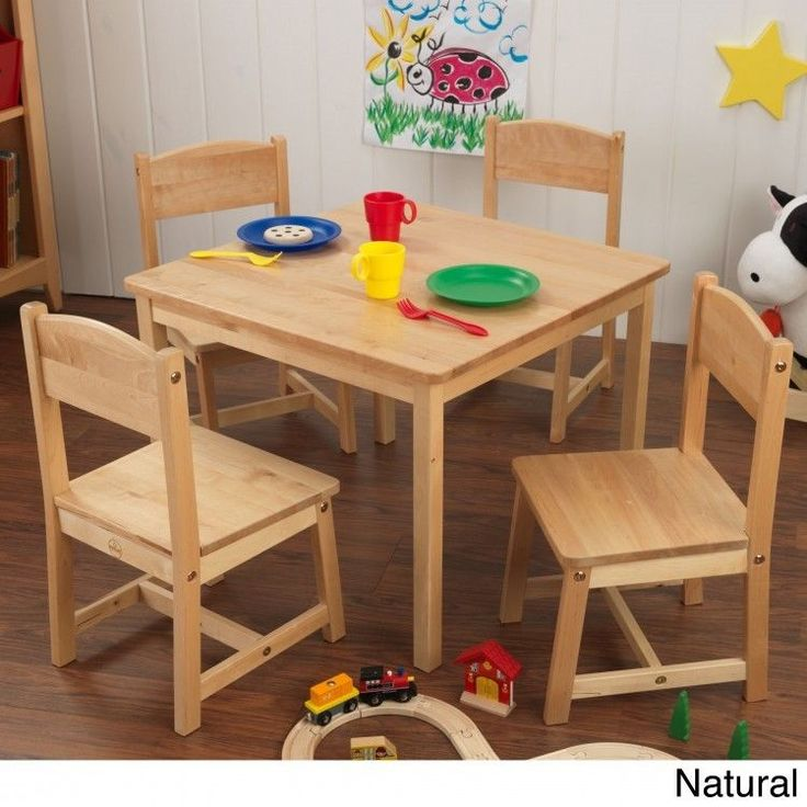 Kids Table Set 5 Piece 4 Chairs Home School Play Room Crafts Learning Natural #KidKraft