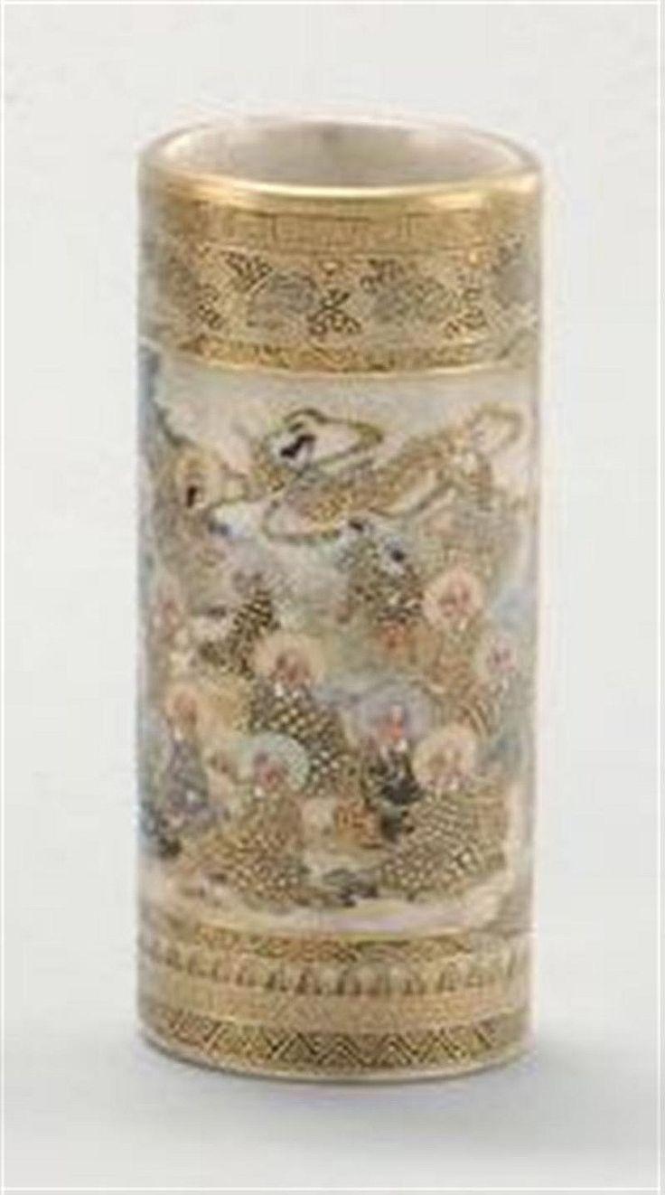 Satsuma Pottery Satsuma Pottery Cylinder Vase With Lohan Design And Black Mark Satsuma
