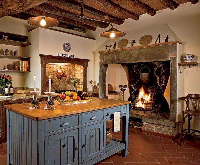 Italian Kitchen Beautiful Fireplace