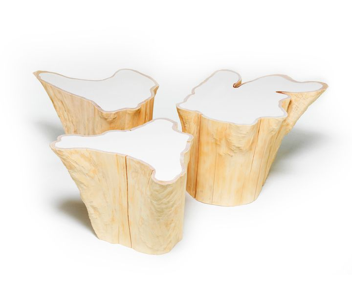 Bloom coffee tables, resin & red cedar, by MTH Woodwords
