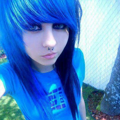 and hair girl blue Emo black with