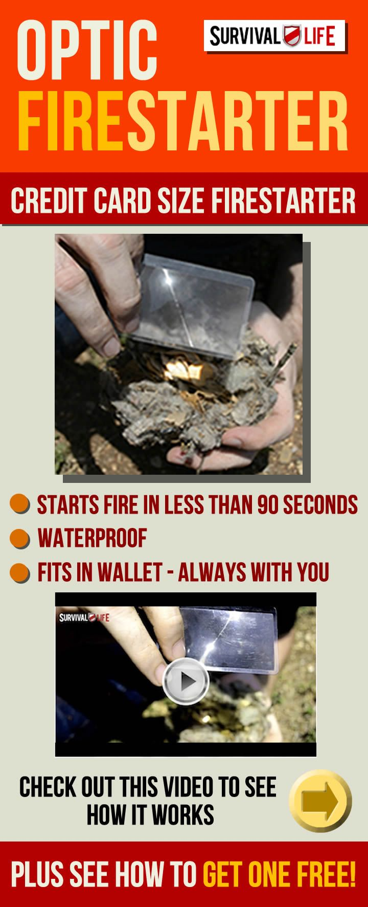 Check out this cool Optic Fire Starter! It fits in your wallet and starts fires in under 90 seconds. Click on link for video that shows this cool survival gear in action, plus see how to GET ONE FREE from Survival Life. #survivallife | survivallife.com