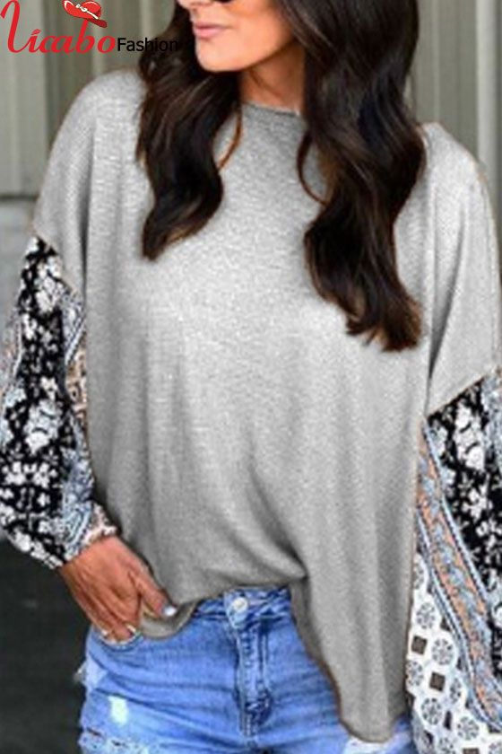 6d11f21eb52e Womens Long Sleeve Floral T Shirt Celeb Baggy Loose Jumper Tops ...