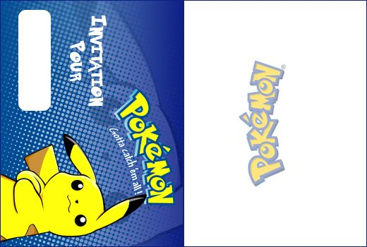 Invitation anniversaire Pokemon Pikachu sur fond bleu