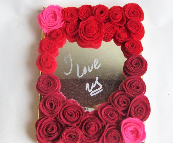 red love gift heart mirror art decor original by BrillianceDecor