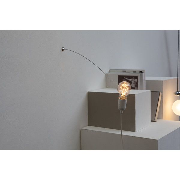 Heavy Guy Single Wall Light (37 CAD) ❤ liked on Polyvore featuring home, lighting, wall lights, white, contemporary lamps, white lights, wire lamp, contemporary sconces and contemporary lighting
