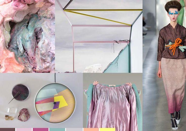 Stylink colour trends 2016 - Monique Tieleman Sweet Contradiction Zachte en glimmende materialen in iets vergrijsde pastelkleuren worden afgewisseld met strakke grafische lijnen.