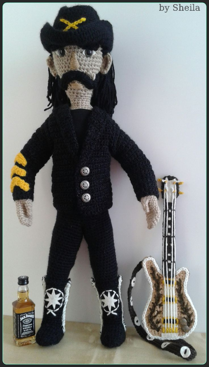 Lemmy Kilmister, frontman, singer bassist of the band Motorhead, died at 70 years dec. 28 2015. own design, no pattern. 55 cm tall