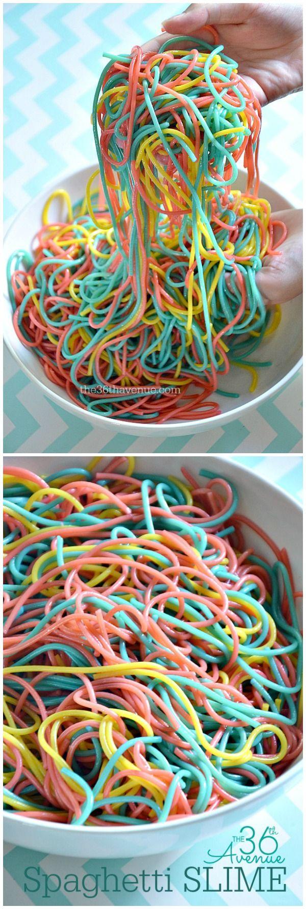 Kool-Aid  Spaghetti Slime... Kids love this stuff!!! the36thavenue.com