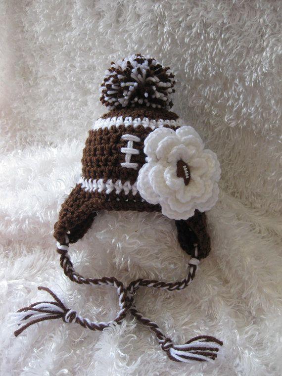 Crochet Baby Girl Football Pom Pom Earflap Hat - adorable!