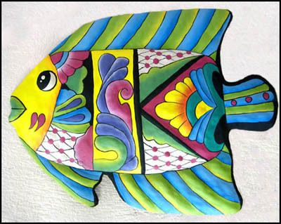 """Painted Metal Tropical Fish Wall Decor Outdoor Decor - 19"""" x 24"""" - Haitian Art  Tropic Accents offers a huge selection of hand painted metal tropical designs that have been hand cut from recycled steel 55 gallon oil drums.After the drum has been cleaned, and flattened out into a 34"""" x 72"""" """"canvas,"""" the design is drawn onto the metal. It is then hand cut with hammer and chisel."""
