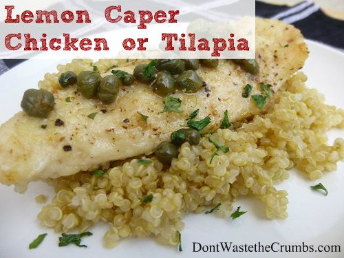 Get this tasty dish on the table in no time with our quick recipe. This Lemon Caper Chicken and Tilapia is moist from the citrus sauce and tastes great!