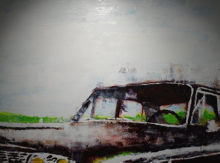 "Original acrylic painting on canvas, 72x96. My artist rendering my daily driver, a 1964 Ford Fairlane. The canvas was custom built for this painting with a 3 inch profile. I used acrylic paint with gel mediums. It has 2 ""D"" rings mounted vertically on the back for a solid wall hanging."