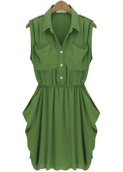 Army Green Sleeveless Twins Pockets Draped Side Chiffon Dress