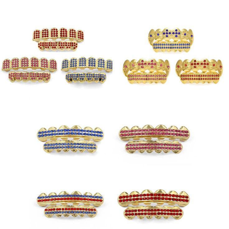 Crystal Gold Custom Hip Hop Teeth Grillz Caps Bottom Grill Kit Set Stylish