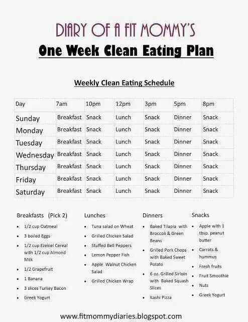Clean Eating Menu: