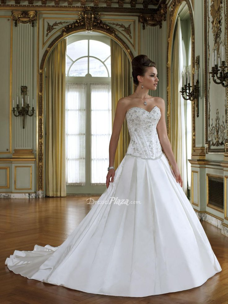 Satin Sweetheart Strapless Beaded Floral Bodice Dropped Waist Ball Gown Wedding Dress