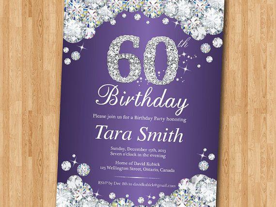 60th Birthday Color Ideas: 60th Birthday Invitation. Rhinestone Diamond Elegant