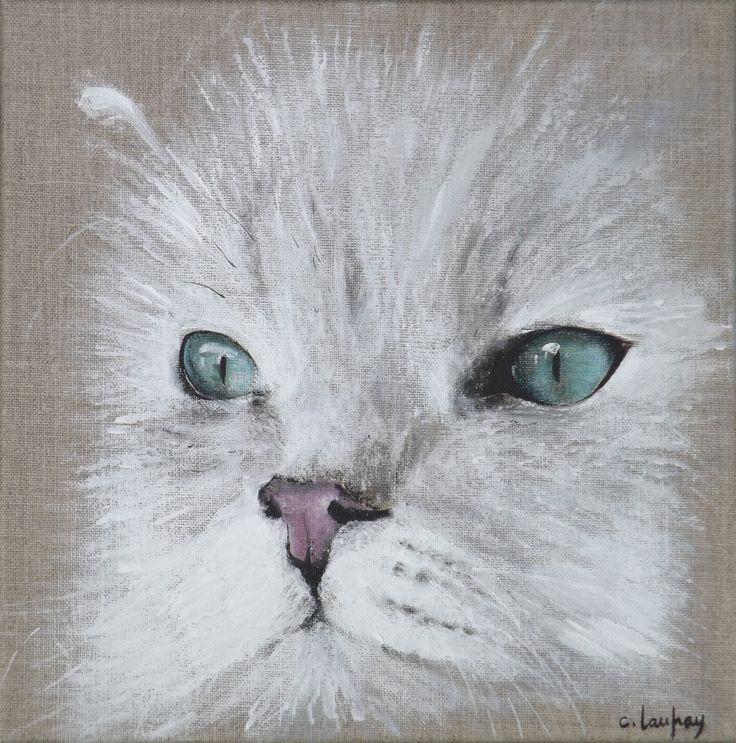 """Peinture sur lin, portrait """"Chat persan blanc"""" 30 x 30 cm : Décorations murales par catherine-laufray"""