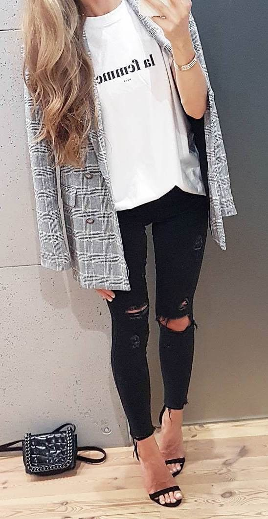 what to wear with a plaid blazer : top + heels + rips and bag