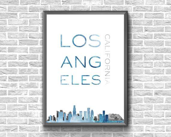 Los Angeles Print  Los Angeles Wall Art  Los Angeles Skyline