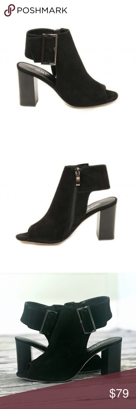 "VANELi 'Bisa' Black Suede Bootie 9M The Bisa is the showstopper this season! This suede peep-toe bootie with a cut-out heel will pair fantastically with any outfit. A flashy yet functional, oversized metal buckle will give you a perfect fit along with an inside zipper for easy on and off. Fully lined with a 2-3/4"" stacked heel, a padded insole and a leather sole. Vaneli Shoes Ankle Boots & Booties"