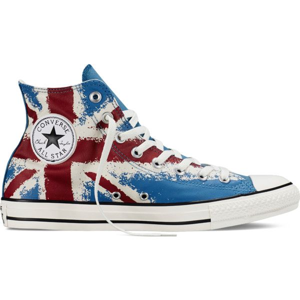 Converse Chuck Taylor All Star UK Flag Print – egret/red/blue Sneakers ($40) ❤ liked on Polyvore featuring shoes, sneakers, converse, star shoes, blue shoes, print sneakers, british flag shoes and union jack sneakers